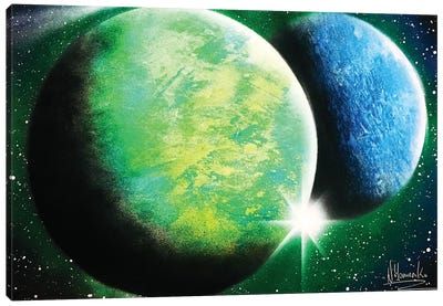 Green And Blue Planets Canvas Art Print