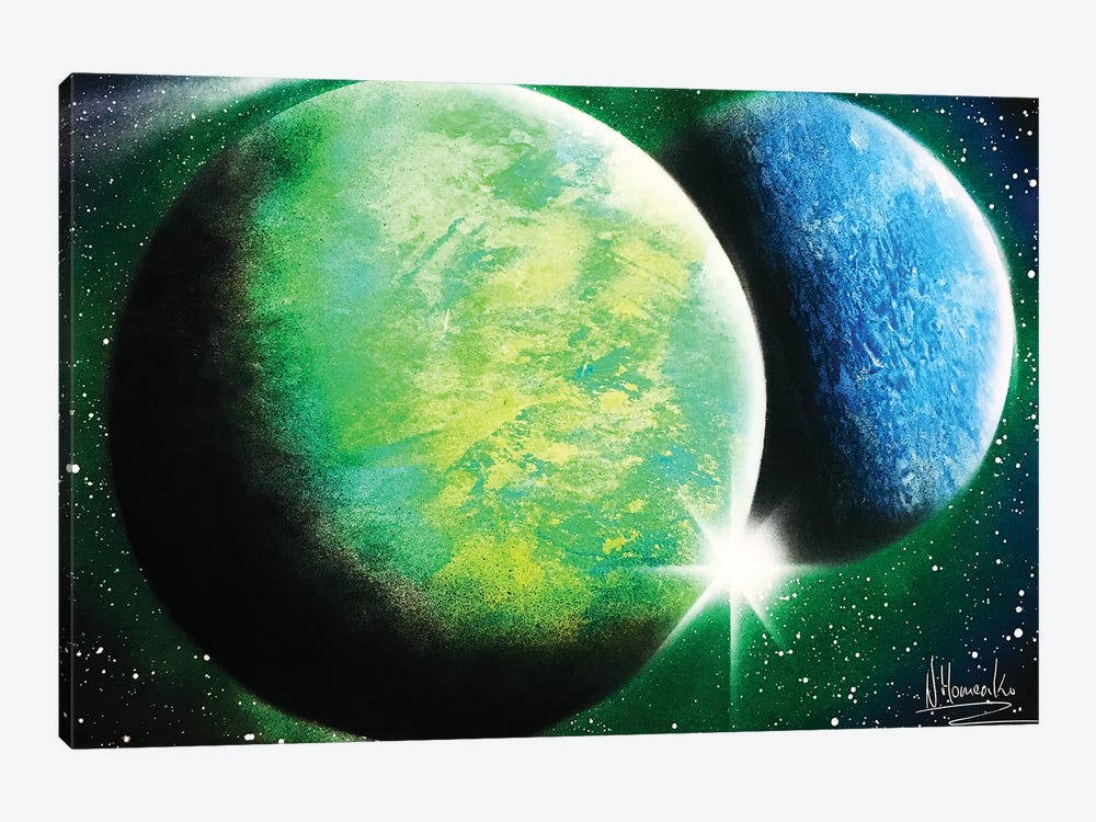 Green And Blue Planets by Nicolay Homenko 1-piece Canvas Artwork