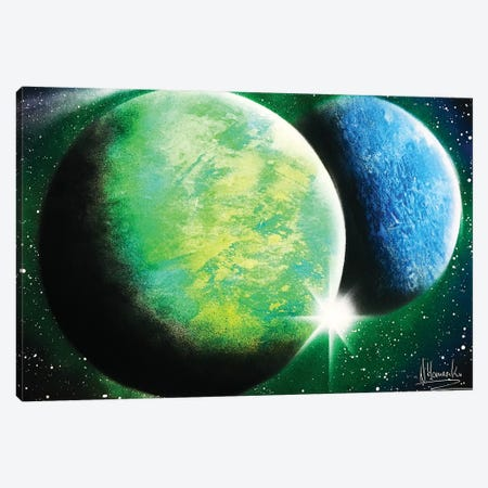 Green And Blue Planets Canvas Print #HMK57} by Nicolay Homenko Canvas Wall Art