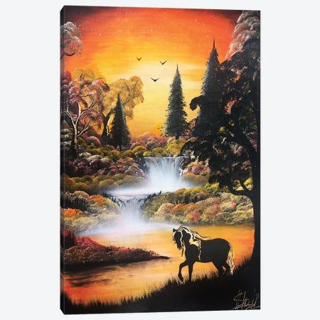 Horse In Beautiful Orange Landscape Canvas Print #HMK62} by Nicolay Homenko Canvas Wall Art