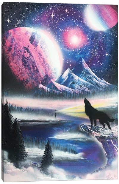 Howling Wolf In Purple Space Landscape Canvas Art Print