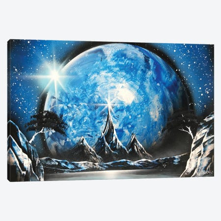 Mountain Landscape And Blue Planet Canvas Print #HMK73} by Nicolay Homenko Art Print