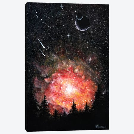 Night Forest Landscape In Orange Colors Canvas Print #HMK81} by Nicolay Homenko Canvas Wall Art