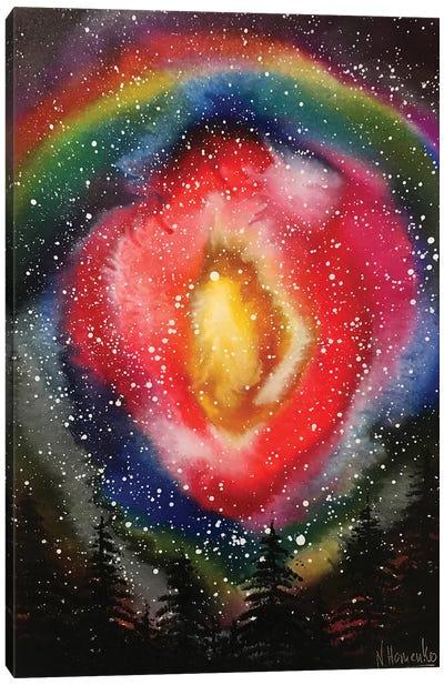 Night Forest Under Bright Nebula Canvas Art Print