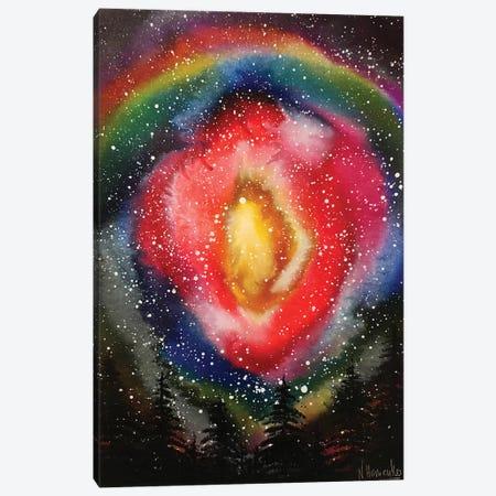 Night Forest Under Bright Nebula Canvas Print #HMK82} by Nicolay Homenko Canvas Art