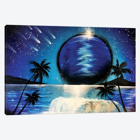 Palms And Wave Under Blue Planet Canvas Print #HMK96} by Nicolay Homenko Canvas Art