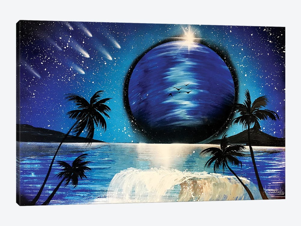 Palms And Wave Under Blue Planet by Nicolay Homenko 1-piece Art Print