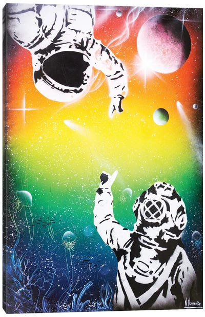 Between Two Worlds (Cosmonaut And Diver) Canvas Art Print