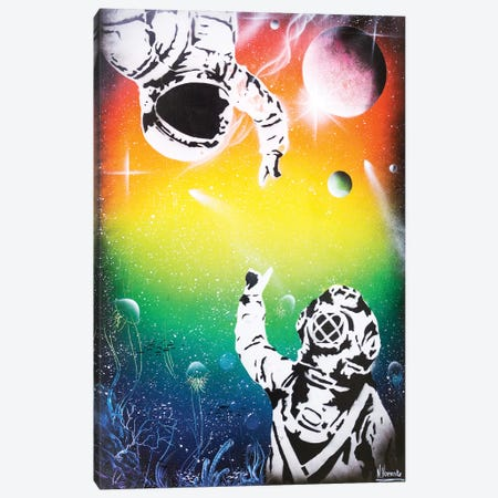 Between Two Worlds (Cosmonaut And Diver) Canvas Print #HMK9} by Nicolay Homenko Canvas Artwork