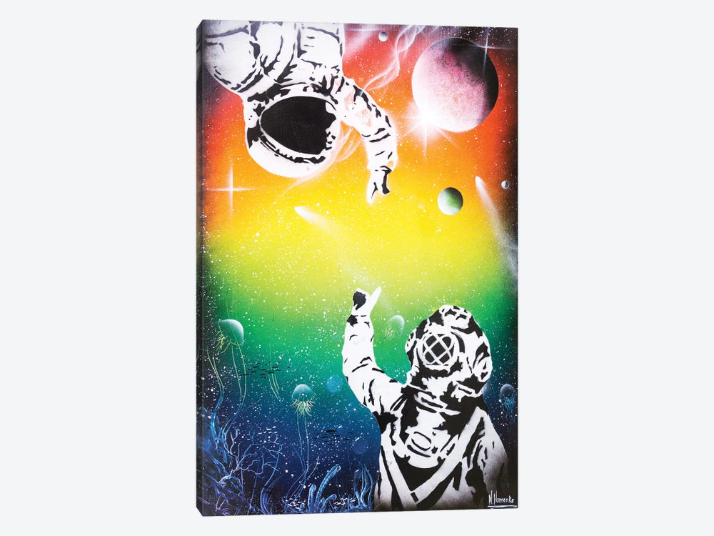 Between Two Worlds (Cosmonaut And Diver) by Nicolay Homenko 1-piece Canvas Art Print