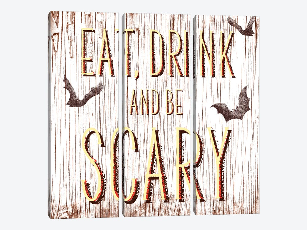 Eat, Drink And Be Scary by 5by5collective 3-piece Canvas Print