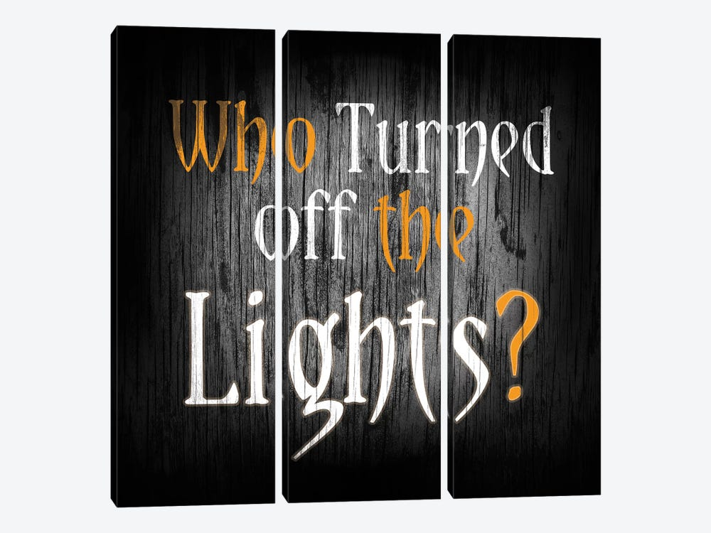 Who Turned Off The Lights by 5by5collective 3-piece Canvas Print