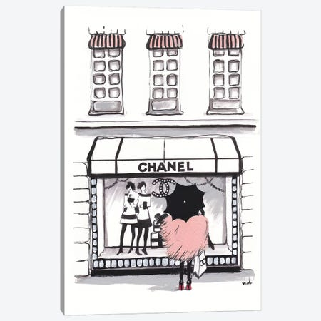 Shopping Chanel Canvas Print #HMR100} by Anna Hammer Canvas Wall Art