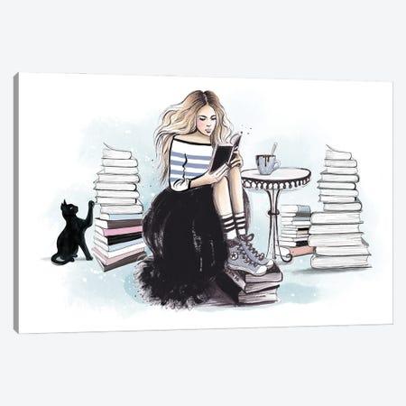 Bookworm Canvas Print #HMR132} by Anna Hammer Canvas Art Print