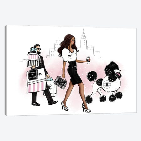 My Dog Wears Chanel Canvas Print #HMR135} by Anna Hammer Canvas Wall Art