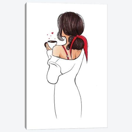 I Heart Coffee Canvas Print #HMR138} by Anna Hammer Art Print