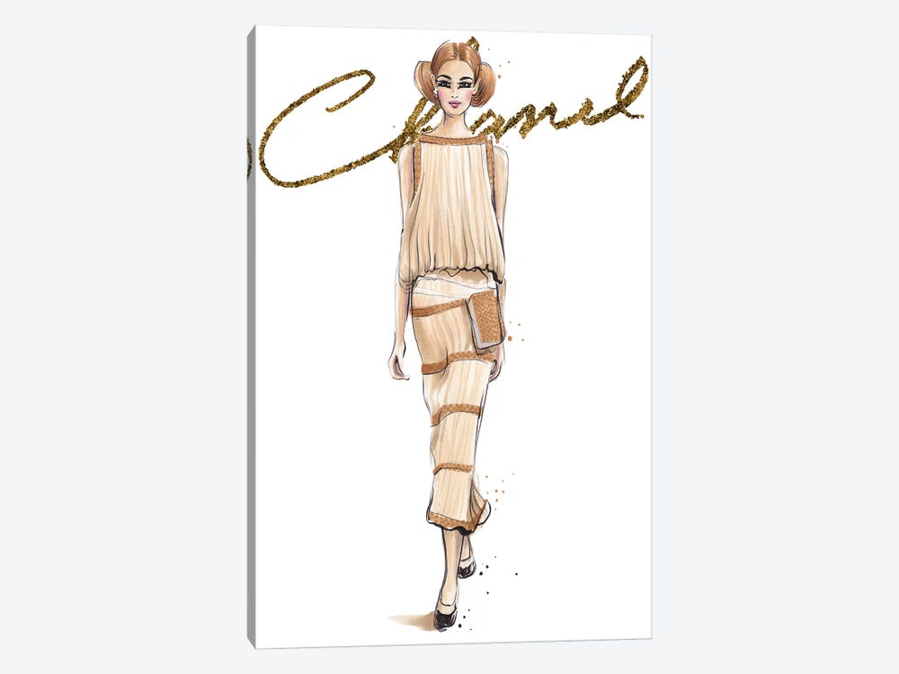 Chanel V With Logo by Anna Hammer 1-piece Canvas Print