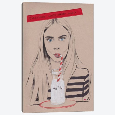Everybody Loves Milk Canvas Print #HMR39} by Anna Hammer Canvas Wall Art