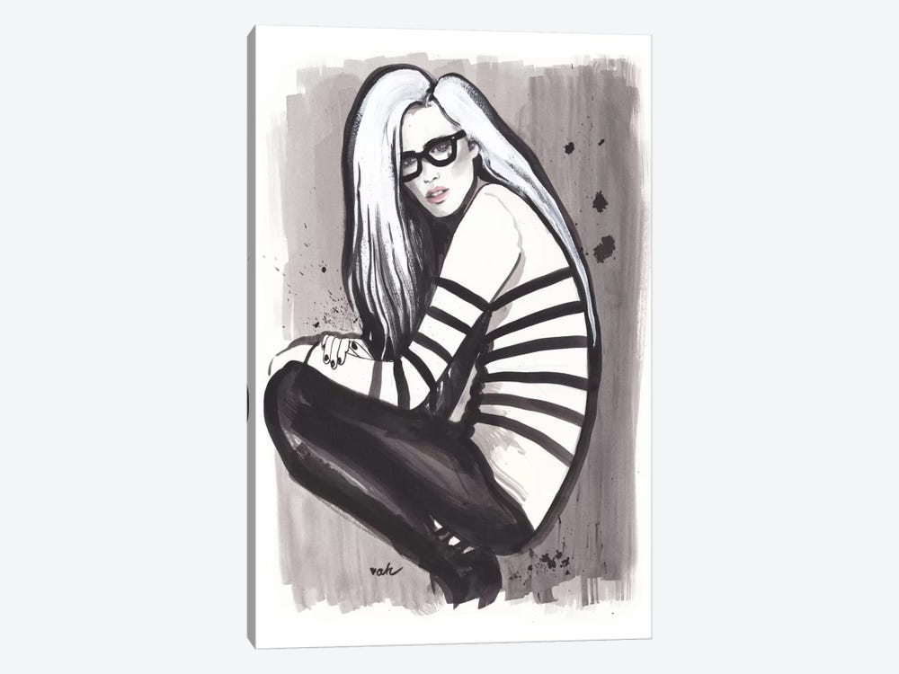 Girl, Glasses, And Gaultier by Anna Hammer 1-piece Canvas Art Print