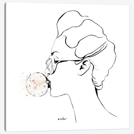 Glitter Bubble Gum Canvas Print #HMR47} by Anna Hammer Canvas Art