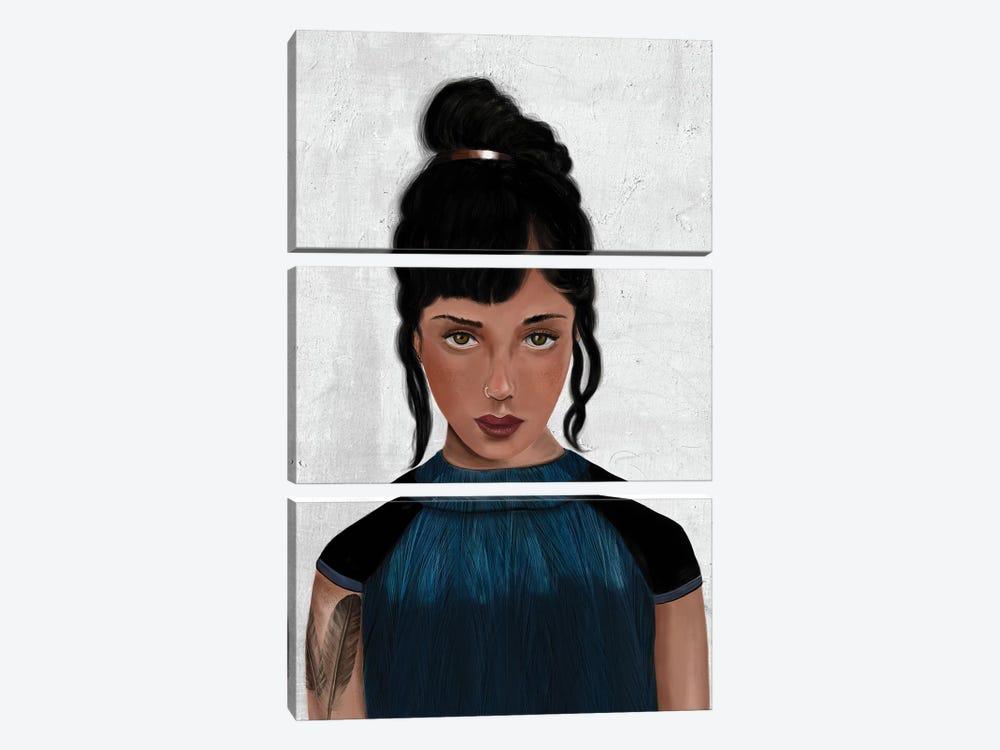 Rebel Girl VI by Henrique Nobrega 3-piece Canvas Art Print