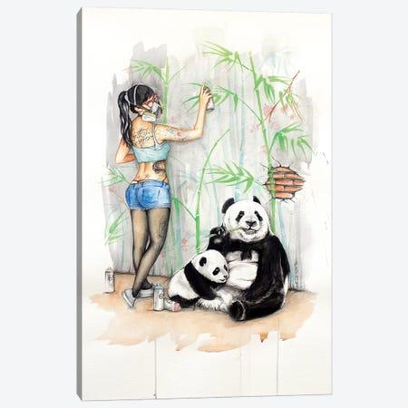 Panda Canvas Print #HNQ13} by Henrique Montanari Art Print