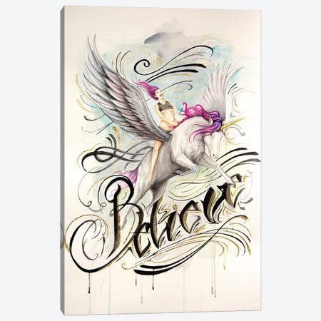 Unicorn Believe Canvas Print #HNQ24} by Henrique Montanari Canvas Art Print