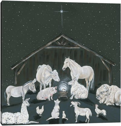 Animal Nativity Scene Canvas Art Print