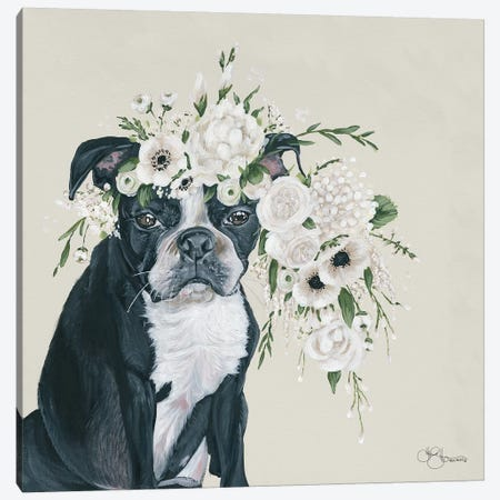 Dog and Flower Canvas Print #HOA27} by Hollihocks Art Canvas Artwork