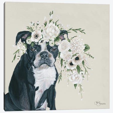 Dog and Flower Canvas Print #HOA27} by Hollihocks Art Canvas Artwork
