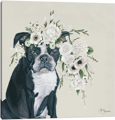 Dog and Flower Canvas Art Print