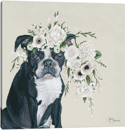 Dog and Flower Canvas Art Print