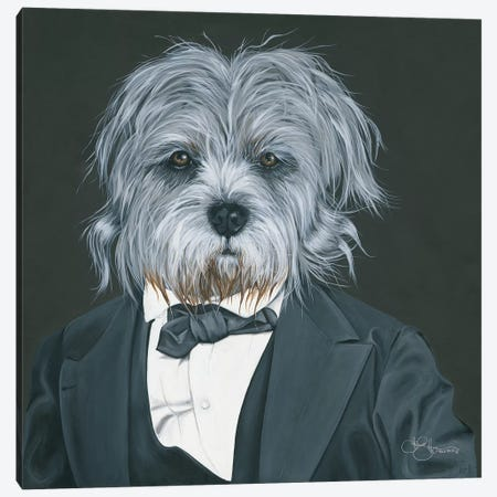 Dog in Suit Canvas Print #HOA28} by Hollihocks Art Canvas Art Print