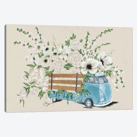 VW Bus White   3-Piece Canvas #HOA41} by Hollihocks Art Art Print