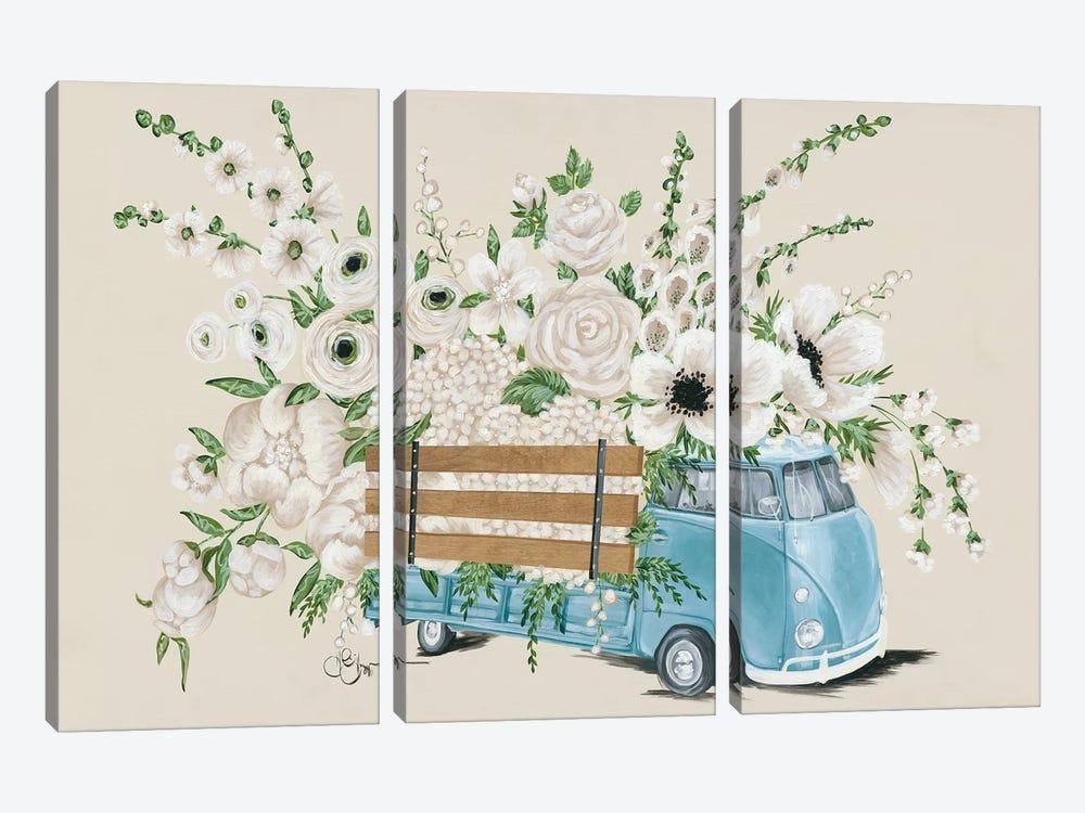 VW Bus White   by Hollihocks Art 3-piece Canvas Print