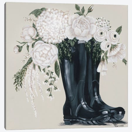 Flowers and Black Boots Canvas Print #HOA45} by Hollihocks Art Canvas Wall Art