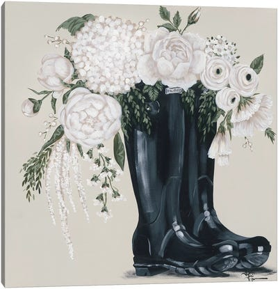 Flowers and Black Boots Canvas Art Print