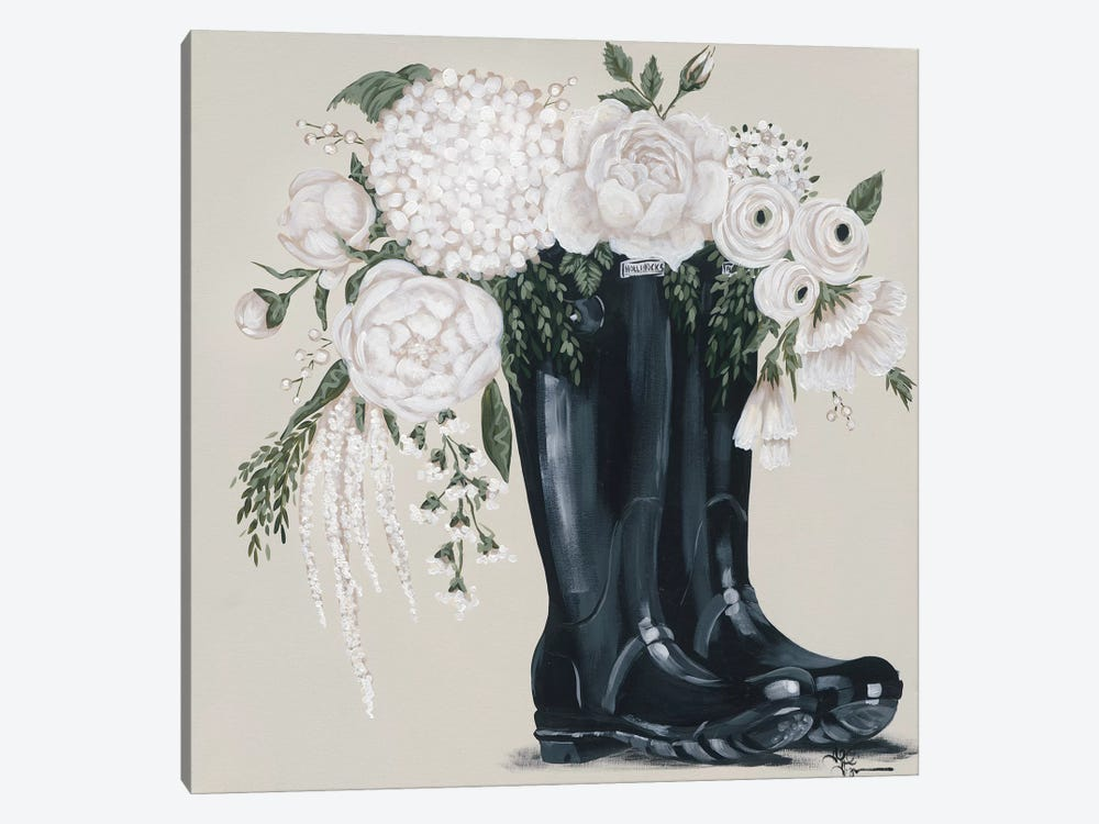 Flowers and Black Boots by Hollihocks Art 1-piece Canvas Print