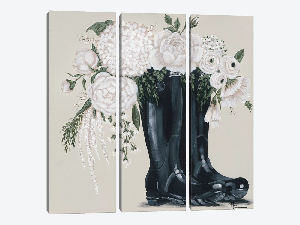 Flowers and Black Boots by Hollihocks Art 3-piece Canvas Print