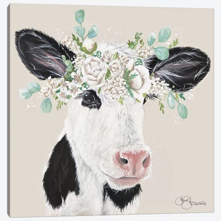 Patience the Cow Canvas Print #HOA53} by Hollihocks Art Canvas Wall Art