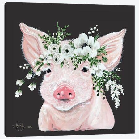 Poppy the Pig Canvas Print #HOA54} by Hollihocks Art Canvas Art Print