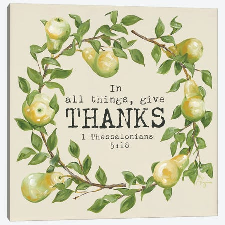 Give Thanks Canvas Print #HOA5} by Hollihocks Art Canvas Art Print