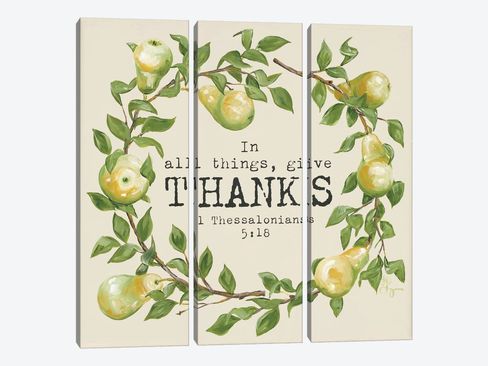 Give Thanks by Hollihocks Art 3-piece Canvas Wall Art