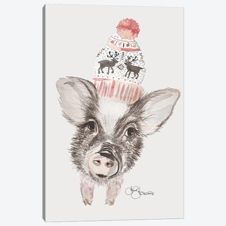 Cozy Pig    Canvas Print #HOA62} by Hollihocks Art Art Print