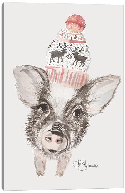 Cozy Pig    Canvas Art Print