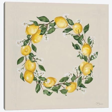 Lemon Wreath Canvas Print #HOA66} by Hollihocks Art Canvas Wall Art
