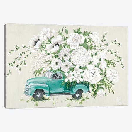 White Floral Truck Canvas Print #HOA69} by Hollihocks Art Canvas Art Print