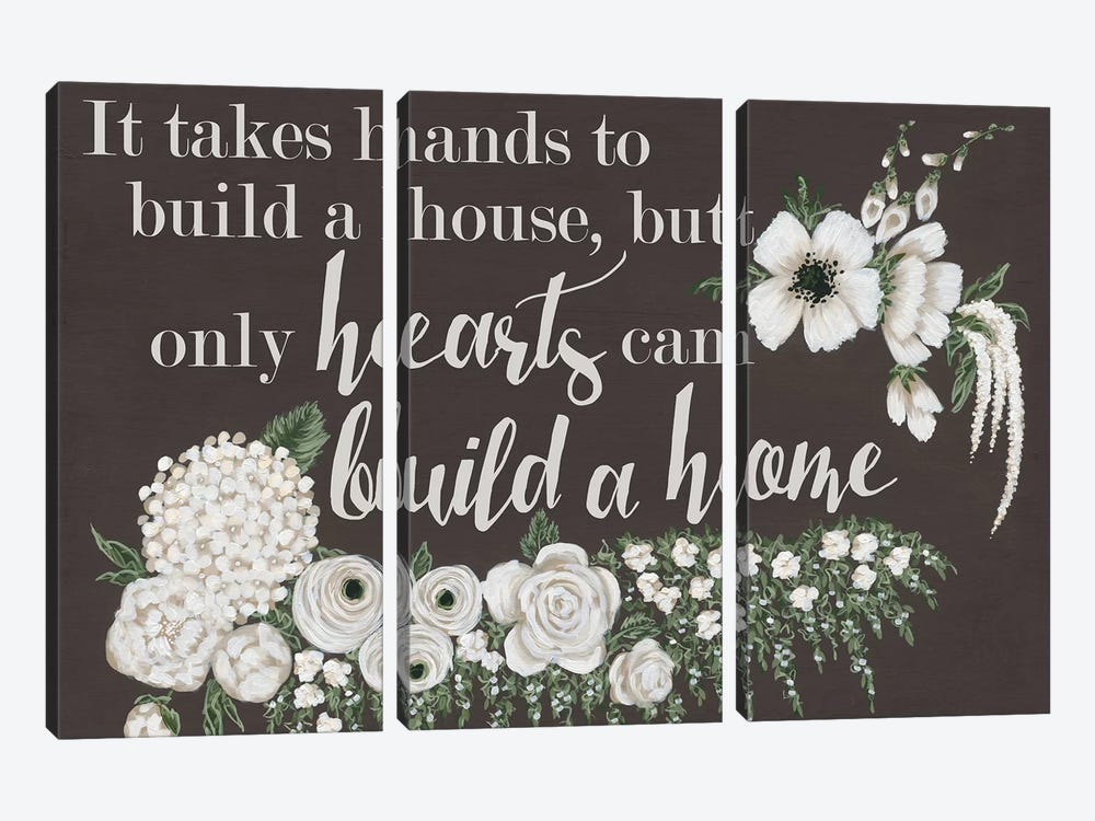Hearts Can Build a Home by Hollihocks Art 3-piece Art Print