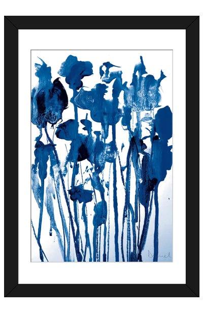Navy Flowers Framed Art Print