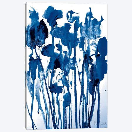 Navy Flowers Canvas Print #HOB62} by Dan Hobday Canvas Artwork